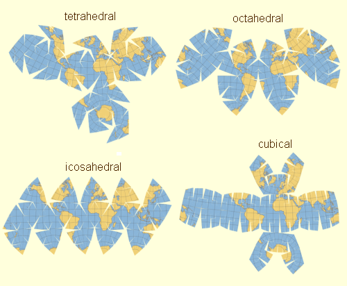unfolding the earth  myriahedral projections